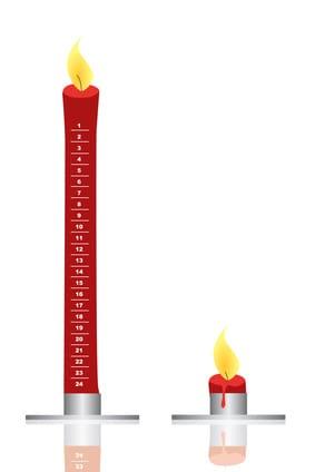 Adventskerze brennend - rote Kerze