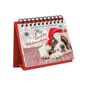 24 x Tierische Weihnachten Postkarten-Adventskalender